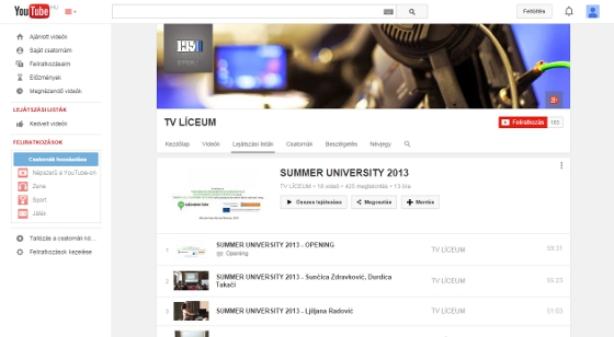 Youtube playlist of Summer School 2013